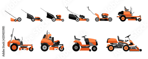 Fotografia Various types of lawn mowers isolated on white background