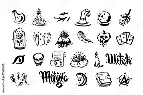 Vector hand drawn illustration of Witch and magic item illustration on white background.