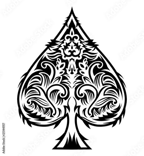 Tribal Style Spade Ace Design, Poker emblem vector illustration Tapéta, Fotótapéta