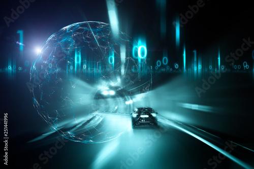 Konceptualny samochodowy jeżdżenie w tunelu z cyfrowego komputeru cyberprzestrzeni tłem.