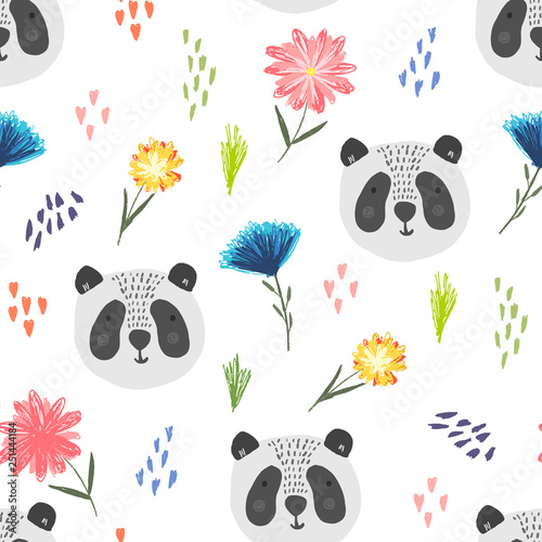 mata magnetyczna Cute seamless pattern with cartoon gray panda, colorful dots and childish flowers. Funny summer hand drawn asian bears texture for kids design, wallpaper, textile, wrapping paper