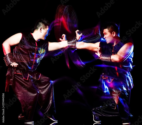 Stampa su Tela wushu chinese boxing kung fu Hung Gar fighter isolated man isolated on black bac