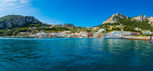 Italy, Campania, Gulf Of Naples, Capri, Panoramic View Of Marina Grande