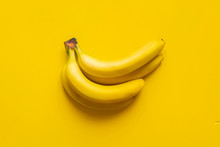 A Bunch Of Bananas On Yellow Background Isolated Copy Space Design Mockup B