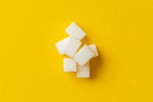 Sugar Cube On Yellow Background Isolated Design Mockup B