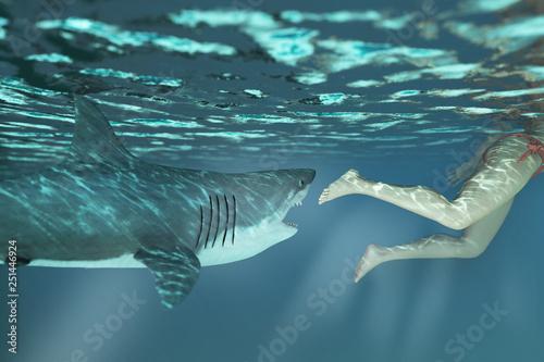 Stampa su Tela shark attacks man in water 3d rendering
