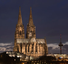 Germany, Cologne, Lighted Museum Ludwig, Cologne Cathedral And Television Tower At Dusk