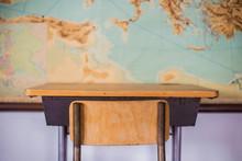 Empty Desks At School Classroo...