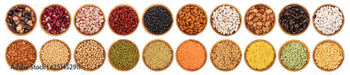 Fototapeta mix legumes in wooden bowl isolated on white background obraz