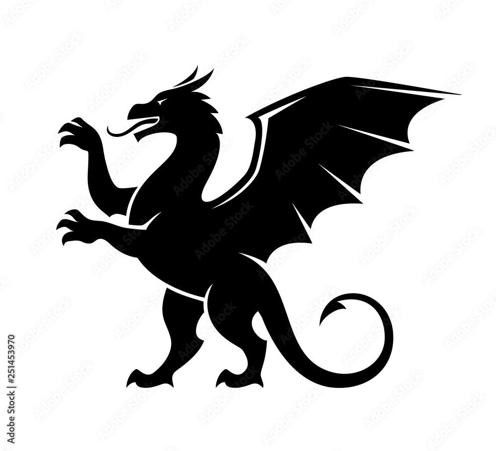 Fototapeta Standing dragon silhouette illustration.