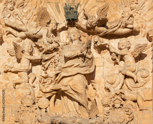 PALMA DE MALLORCA, SPAIN - JANUARY 27, 2019: The statue of Immaculate Conception on the baroque portal of church Iglesia de San Francisco by Pere Horrach and Francisco de Herrera (17. cent.).