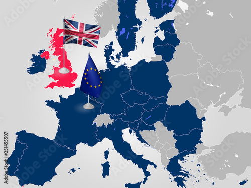 Fotografía  BREXIT on the map of Europe: United Kingdom exits EU in 2019