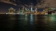 long exposure shot of the night skyline of manhatten