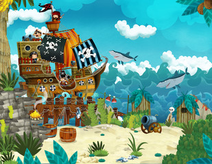 Cartoon scene of beach near the sea or ocean - pirate ship - illustration for children