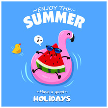 Vintage Summer Poster Design With Vector Watermelon & Pink Flamingo Pool Float Characters.