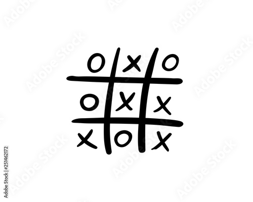 Drawing of a deadlocked tick tack toe game, vector illustration Wall mural