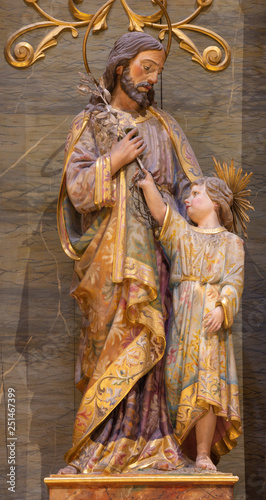 PALMA DE MALLORCA, SPAIN - JANUARY 29, 2019: The polychome carved sculpture of St. Joseph in the church Iglesia de Santa Maria Magdalena from 19. cent.