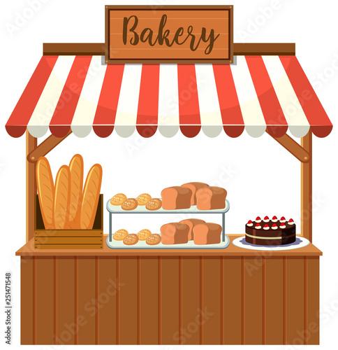 A bakery food stall Fotobehang