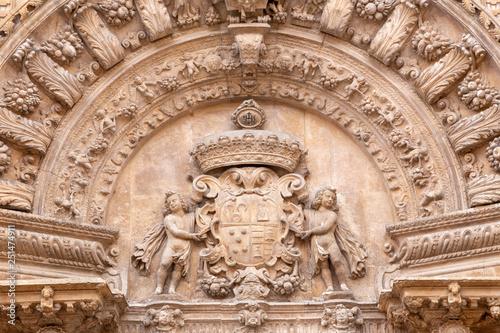 PALMA DE MALLORCA, SPAIN - JANUARY 29, 2019: The detail of baroque portal of church La iglesia de Monti-sion (1624 - 1683).