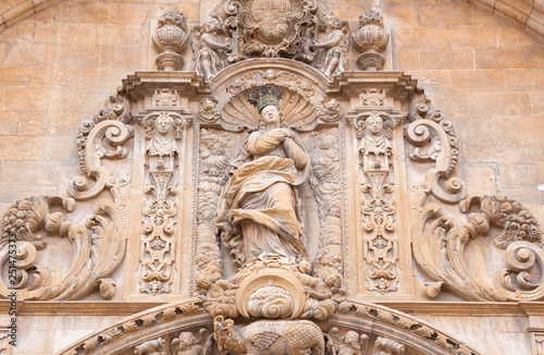 PALMA DE MALLORCA, SPAIN - JANUARY 29, 2019: The Immaculate conceptoin on the baroque portal of church La iglesia de Monti-sion (1624 - 1683).