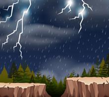 A Thunderstorm Night Scene