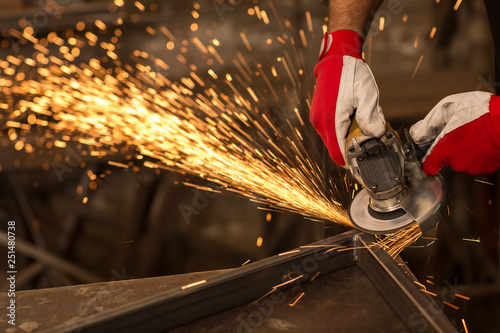 Close up of flame spark with electric grinder. Fototapet