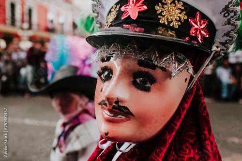 Fotografering  Huehues Mexico, mexican Carnival scene, dancer wearing a traditional mexican fol