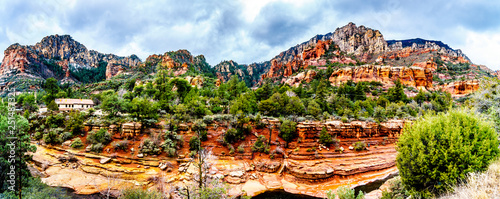 Panorama of the colorful sandstone mountains and canyon carved by Oak Creek at famous Slide Rock State Park along Arizona SR89A between Sedona and Flagstaff in northern Arizona, USA