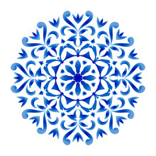 Blue And White Floral Round