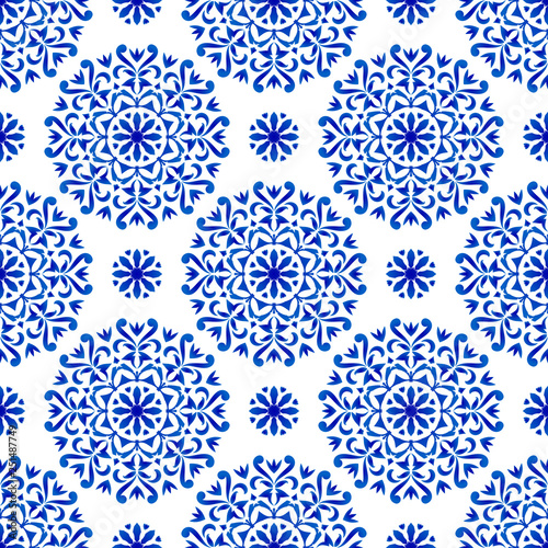 decorative floral blue pattern Wallpaper Mural
