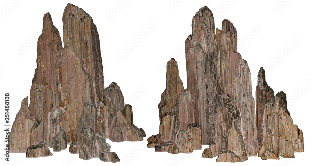 Fototapety, obrazy: Beautiful volcanic rock carved by erosion. Stones on white background provided with a clipping path