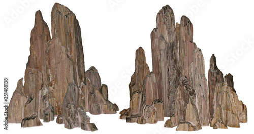 Beautiful volcanic rock carved by erosion. Stones on white background provided with a clipping path