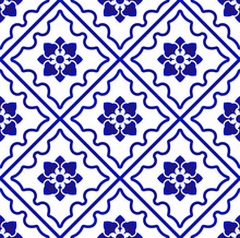 Blue And White Pattern Flower