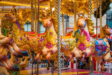 Colorful Horse Carousel At An ...