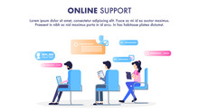 Online Support Operator Sit On Chair Workplace