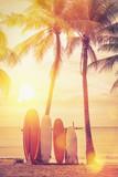 Deska surfingowa i palmy na tle plaży. - 251495183