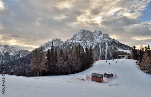 Fotografie, Obraz  Winter landscape in Dolomites at Plan de Corones (Kronplatz) ski resort, Italy