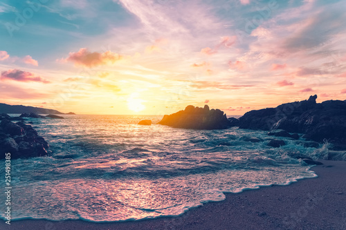 Printed kitchen splashbacks Cappuccino Tropical beach with sunset sky and cloud background.