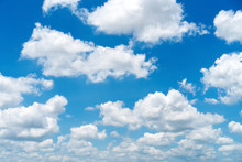 Blue Sky And White Clouds Background.