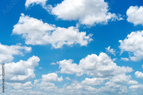 Blue sky and white clouds background. Canvas Print