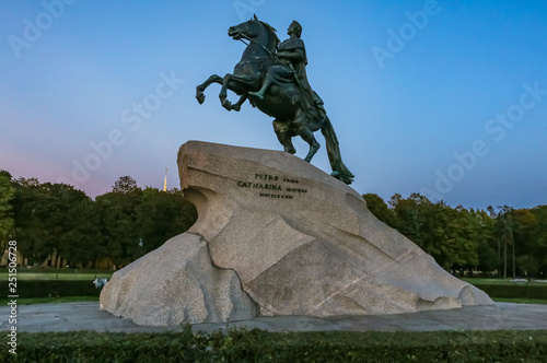 Fotografie, Obraz  The Bronze or Copper Horseman Monument to Peter the Great in Saint Petersburg, R