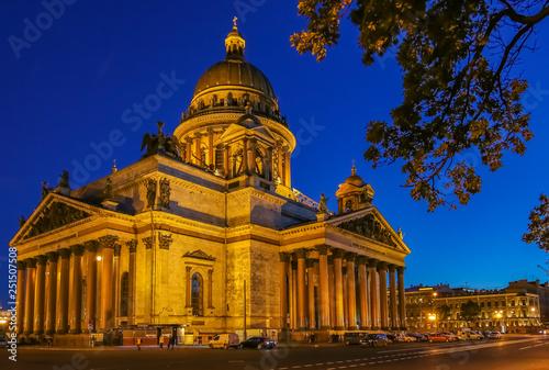 Fotografie, Obraz  Illuminated facade of Saint Isaac's Cathedral in Saint Petersburg, Russia