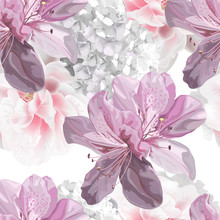 Floral Seamless Pattern With Hydrangea,azalea Vector Illustration