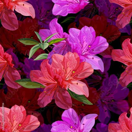 Floral seamless pattern with azalea vector illustration Canvas Print