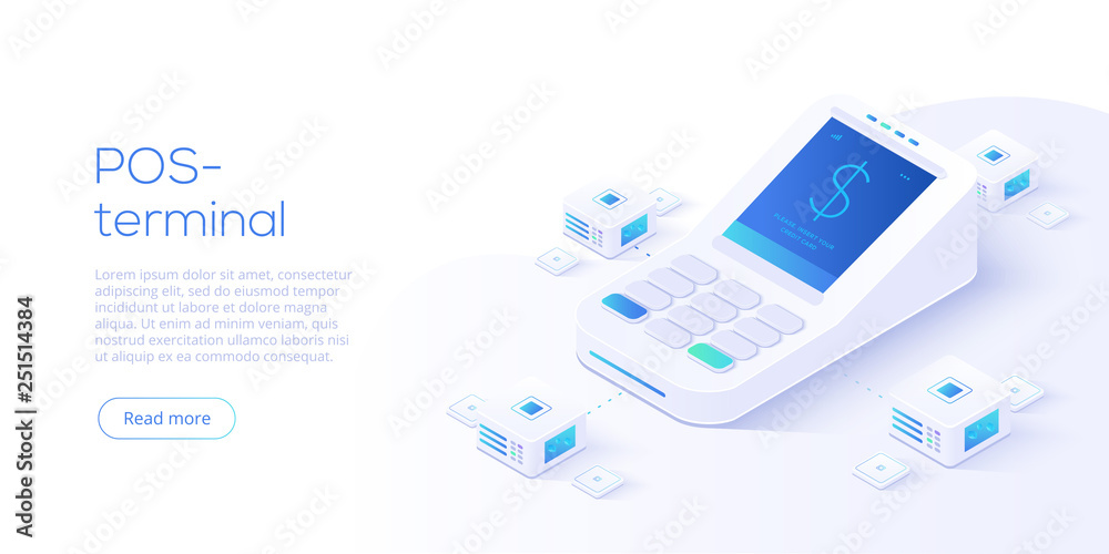Fototapeta Internet banking concept in isometric vector illustration. Digital payment or online money transfer service. POS terminal for contactless pay. Website banner or webpage layout template.