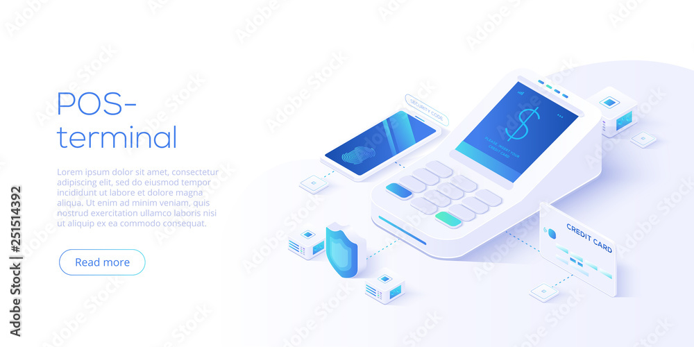 Fototapeta Internet banking concept in isometric vector illustration. Digital payment or online money transfer service. POS terminal for contactless smartphone pay. Website banner or webpage layout template.