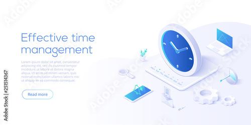 Obraz na plátně Effective time management isometric vector illustration