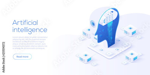 Obraz Artificial intelligence or neural network concept in isometric vector illustration. Neuronet or ai technology background with robot head and connections of neurons. Web banner layout template. - fototapety do salonu