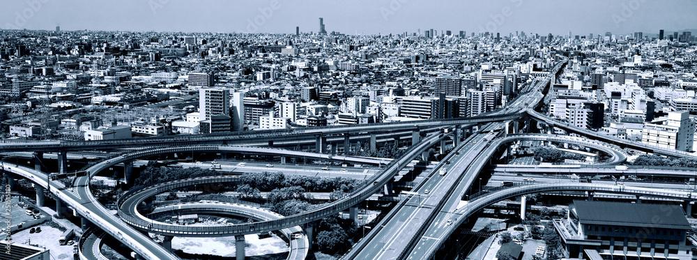 Fototapeta 高速道路のインターチェンジ