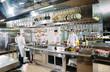 canvas print picture Modern kitchen. The chefs prepare meals in the restaurant's kitchen.